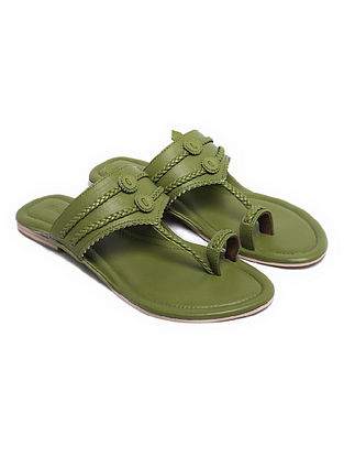 Pear Green Handcrafted Leather Kolhapuri Flats