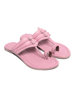 Pink Handcrafted Leather Kolhapuri Flats