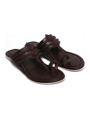 Burgandy Handcrafted Leather Kolhapuri Flats