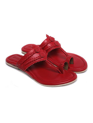 Red Handcrafted Leather Kolhapuri Flats