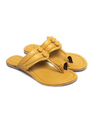 Mustard Handcrafted Leather Kolhapuri Flats