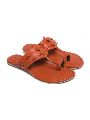 Orange Handcrafted Leather Kolhapuri Flats
