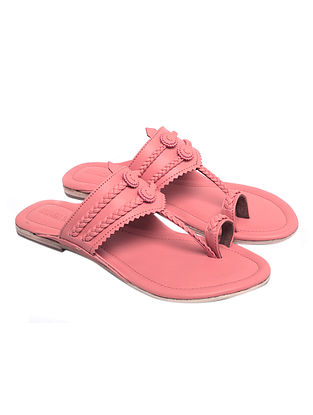 Blush Pink Handcrafted Leather Kolhapuri Flats