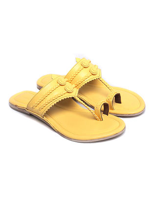 Yellow Handcrafted Leather Kolhapuri Flats
