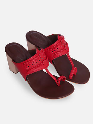 Red Handcrafted Kolhapuri Block Heels