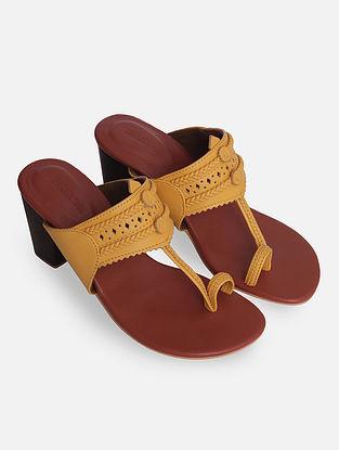 Mustard Handcrafted Kolhapuri Block Heels