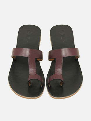 Maroon Black Handcrafted Leather Flats