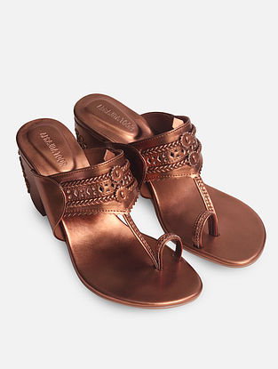 Copper Handcrafted Kolhapuri Block Heels