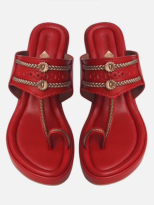 Red Handcrafted Genuine Leather Wedges