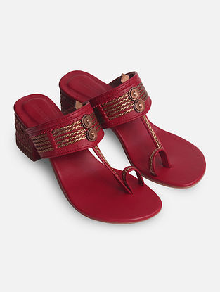 Maroon Handcrafted Genuine Leather Box Heels