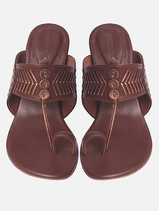 Brown Handcrafted Genuine Leather Block Heels