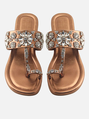 Copper Leatherette Kohlapuri Flats