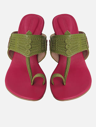 Green Handcrafted Leather Kohlapuri Block Heels