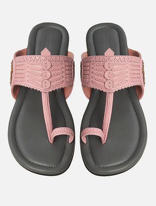 Pink Handcrafted Leather Kohlapuri Flats