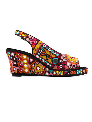 Multicolored Handcrafted Faux Leather Wedges