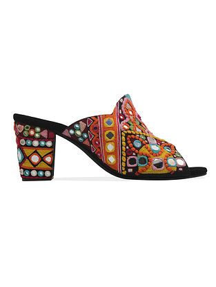 Multicolored Handcrafted Faux Leather Block Heels