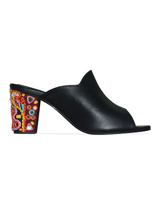 Black Multicolored Handcrafted Leather Block Heels
