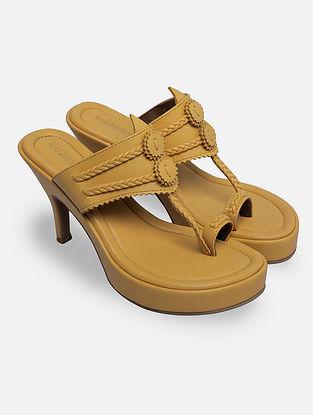 Mustard Handcrafted Kohlapuri Heels