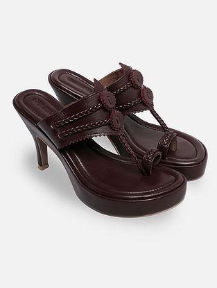 Burgundy Handcrafted Kohlapuri Heels