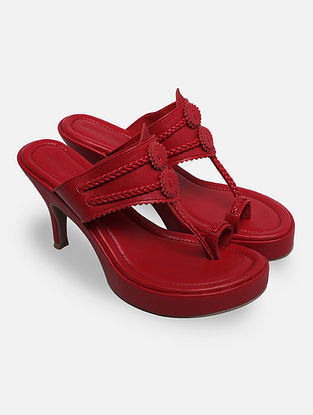 Red Handcrafted Kohlapuri Heels