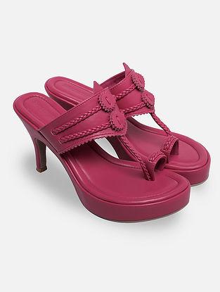 Pink Handcrafted Kohlapuri Heels