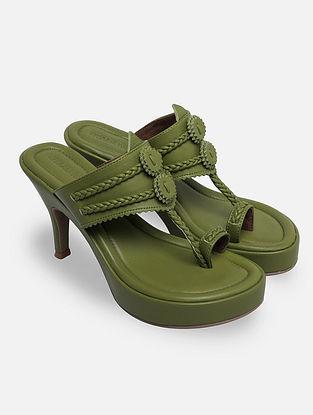 Green Handcrafted Kohlapuri Heels