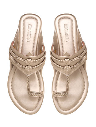 Champagne Handcrafted Non Leather Kolhapuri Flats