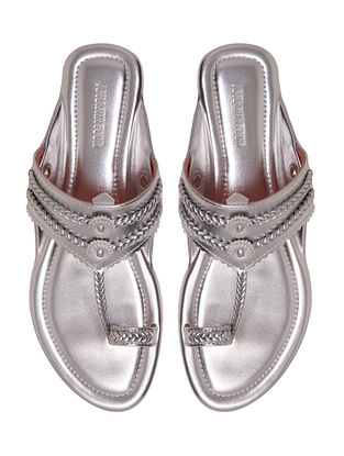 Silver Handcrafted Non Leather Kolhapuri Flats