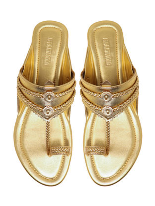 Gold Handcrafted Non Leather Kolhapuri Flats