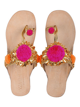 Cream-Pink Leather Flats with Gota Work and Pom Poms