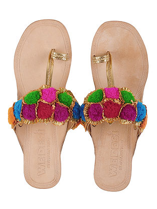 Cream-Multicolor Leather Flats with Gota Work and Pom Poms