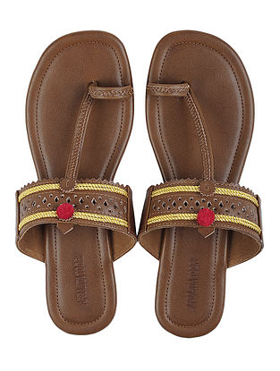 Brown Leather Flats with Pom Pom