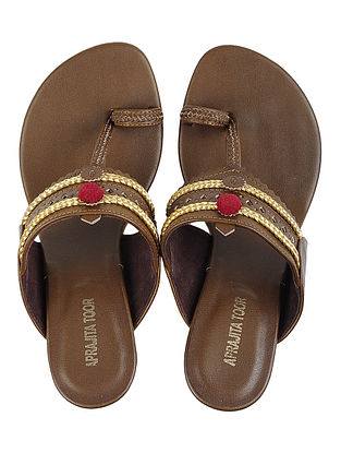 Brown Leather Sandals with Pom Pom