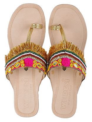 Cream-Multicolor Leather Flats with Gota and Mirror Work