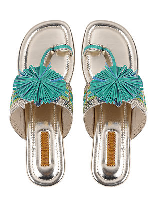 Silver Blue Handcrafted Kolhapuri Flats