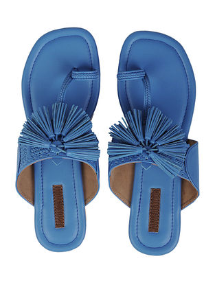 Blue Handcrafted Kolhapuri Flats With Tassels