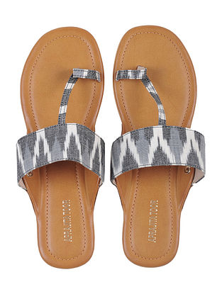 Tan-Grey Ikat Cotton Handcrafted Shoes