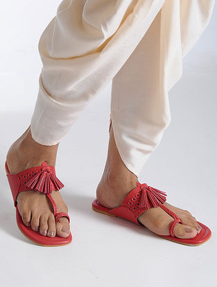 Red Kolhapuri Flats with Tassels