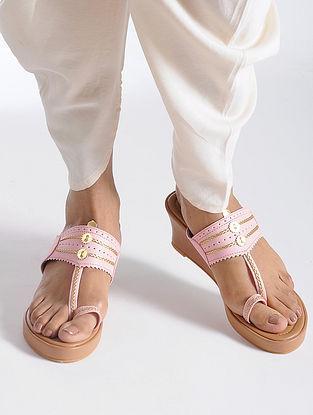 Pink-Beige Handcrafted Kolhapuri Sandals