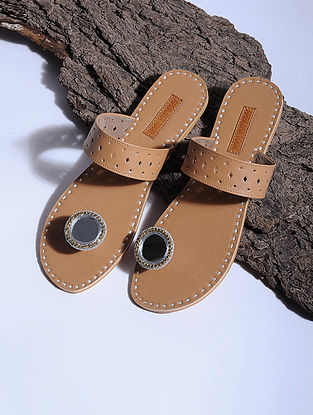 Tan Paduka Flats Embellished with Mirrors