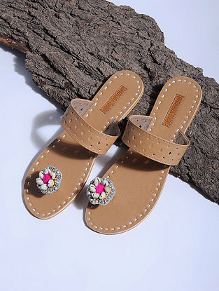 Beige Paduka Flats Embellished with Shells