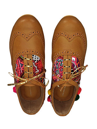 Tan Kutch-embroidered Handcrafted Shoes