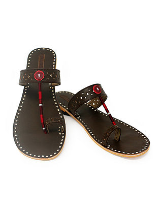 Brown Hand-Crafted Flats with Embellishments