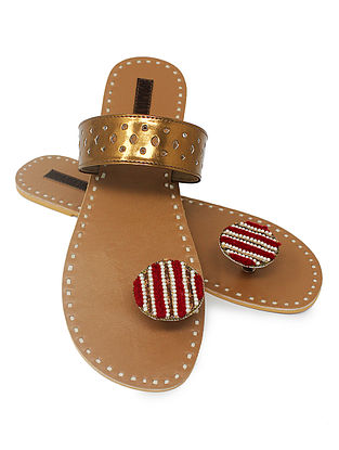 Copper-Beige Paduka Flats Embellished with Beads