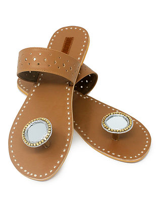 Beige Paduka Flats Embellished with Mirror and Beads