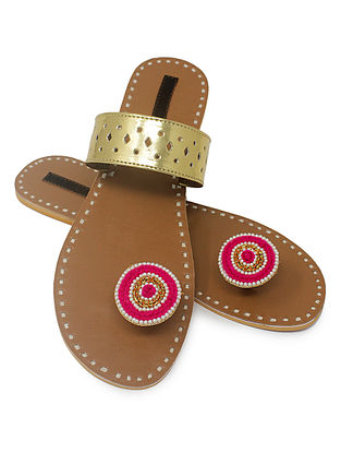 Gold-Beige Paduka Flats Embellished with Beads