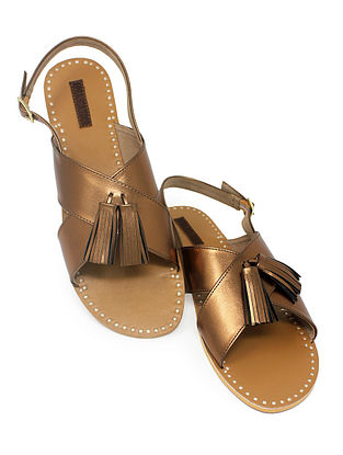 Copper-Beige Handcrafted Sandals with Tassels