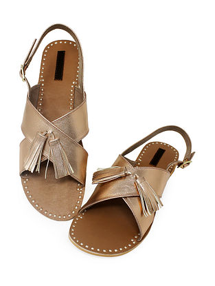 Rose Gold-Beige Handcrafted Sandals with Tassels