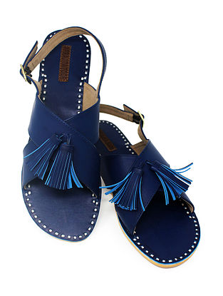 Blue Handcrafted Sandals with Tassels