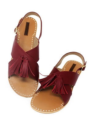 Maroon-Beige Handcrafted Sandals with Tassels